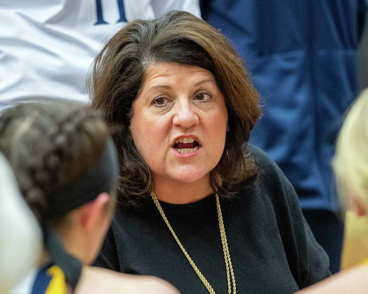 Quinnipiac womens basketball coach Tricia Fabbri talks to her team during a game against Siena College at the Siena College Alumni Recreation Center in Colonie, NY on Saturday, Jan. 4, 2020 .