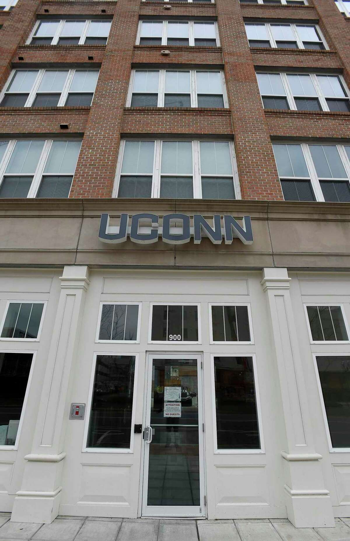 An exterior of UCONN Stamford's Residential Life building in Stamford, Connecticut on March 25, 2020.