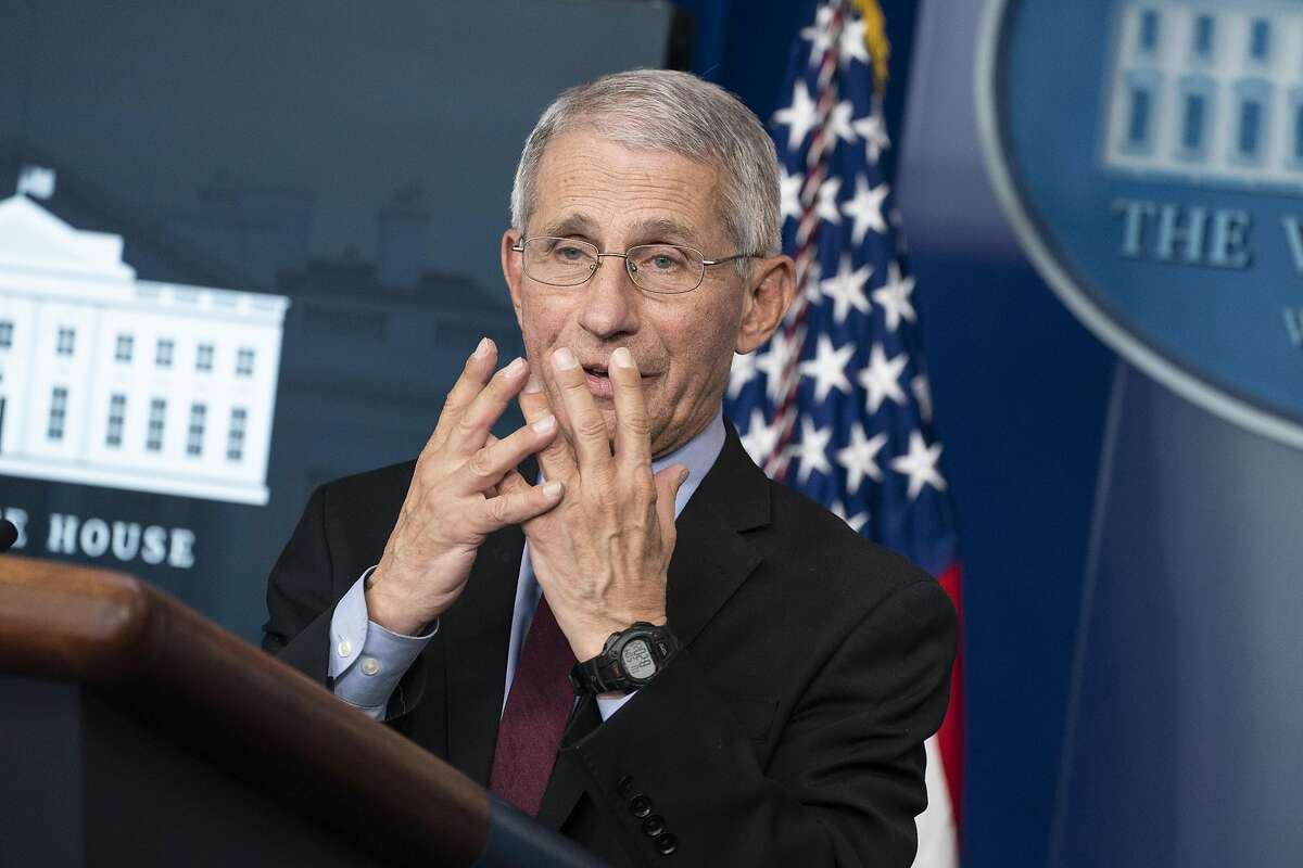 Dr. Anthony Fauci, director of the National Institute of Allergy and Infectious Diseases, speaks during a press briefing with members of the White House Coronavirus Task Force on April 5, 2020 in Washington, DC. On Friday, the CDC issued a recommendation that all Americans should wear masks or cloth face coverings in public settings.