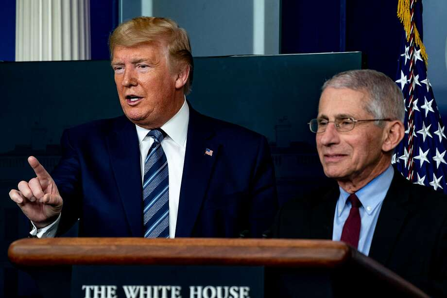 President Donald Trump speaks with Anthony Fauci, director of the National Institute of Allergy and Infectious Diseases, during a coronavirus briefing at the White House in Washington, April 5, 2020. (Anna Moneymaker/The New York Times) Photo: Anna Moneymaker, NYT