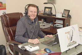 "Mike Adams of ""Adams on Agriculture"" broadcasts from a studio in the basement of his Jacksonville residence."