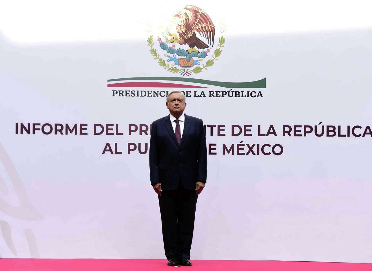Mexican President Andres Manuel Lopez Obrador during the presentation of the economic plan against the coronavirus COVID-19 at the Palacio Nacional, in Mexico City Sunday. HIs admnistration has moved slowly in addressing the threat of the coronavirus.