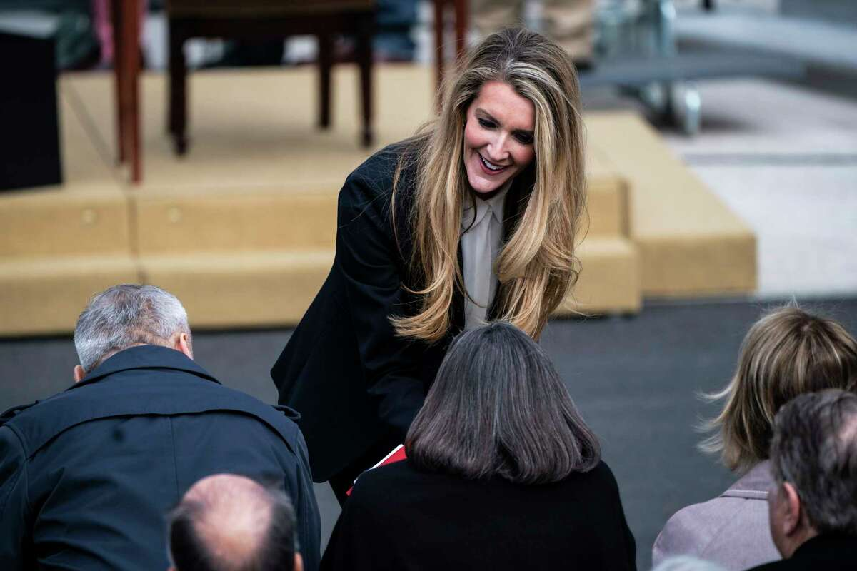 Sen. Kelly Loeffler, R-Ga., talks to others before President Trump participates in a signing ceremony for the United States-Mexico-Canada Trade Agreement on the South Lawn of the White House on Jan 29, 2020 in Washington, D.C.