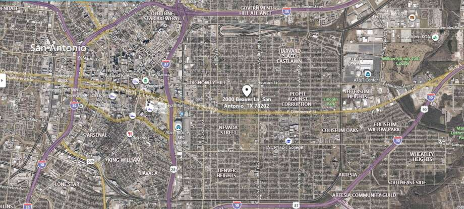 San Antonio police are searching for three men after numerous houses were shot at on the East Side early Monday morning. The map shows the approximate location of the incident. Photo: Google Maps