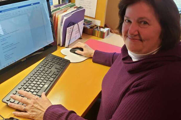 Katie Donovan, Senior Consultant on the Health Endowment Fund grant in Manistee County, reviews the online survey that will take the place of the face to face listening sessions that were canceled in March.