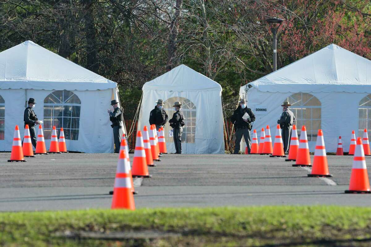 A view of the COVID-19 drive-through testing site before opening at the University at Albany on Monday, April 6, 2020, in Albany, N.Y. The testing site is only for those who make appointments beforehand. (Paul Buckowski/Times Union)