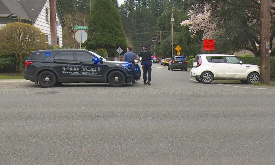 A car crashes after its driver led police on a high speed chase into Issaquah. Photo: Courtesy Of KOMO News