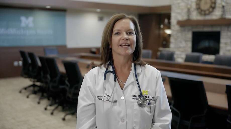 This screenshot of Dr. Lydia Watson was taken from a public service announcement video released by MidMichigan Health. Photo: Screenshot/MidMichigan Health Video