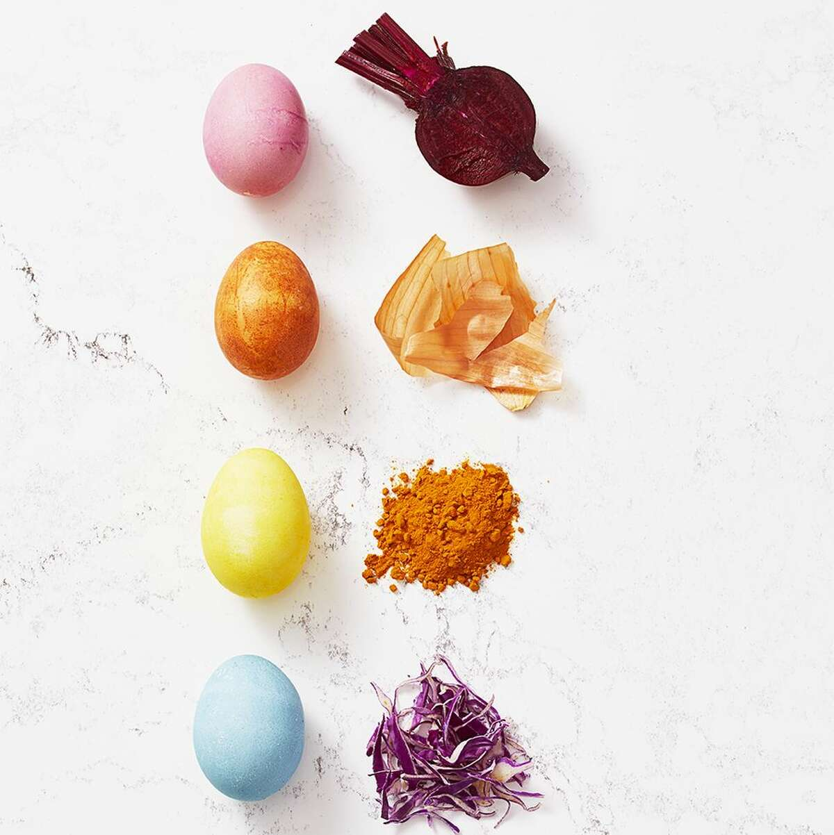 Good Housekeeping offers a guide to naturally dying Easter eggs. >> Click through the slideshow to see which ingredients to use for your colored eggs.