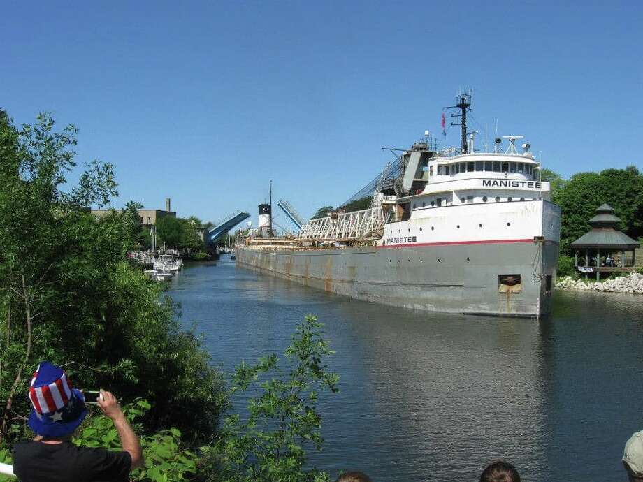 """The Manistee arriving during the Forest Festival parade in July 2014.""