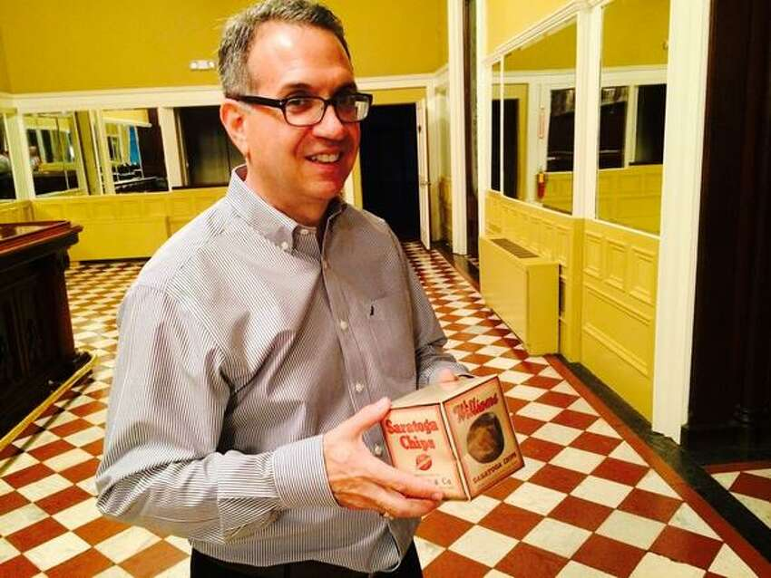Alan Richer, also known as the Toga Chip Guy, before a presentation at the Canfield Casino in Saratoga Springs.