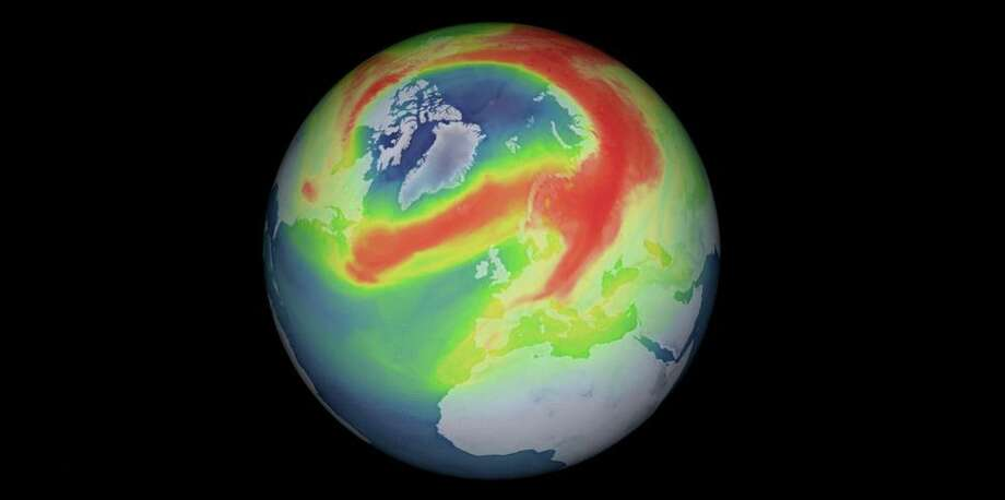 Data from the Copernicus Sentinel-5P satellite revealed a mini ozone hole over the Arctic in 2020. Photo: Iincludes Modified Copernicus Data (2020), Processed By DLR/BIRA/ESA