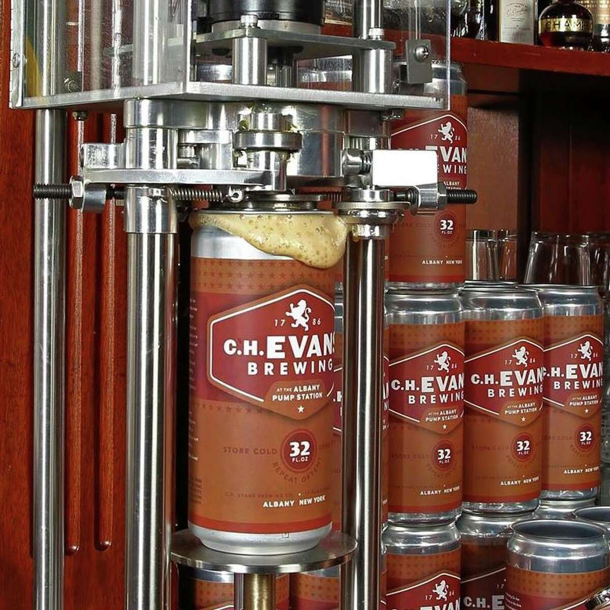 Crowlers at C.H. Evans Brewing are filled with the brewery's Kick Ass Brown Ale.