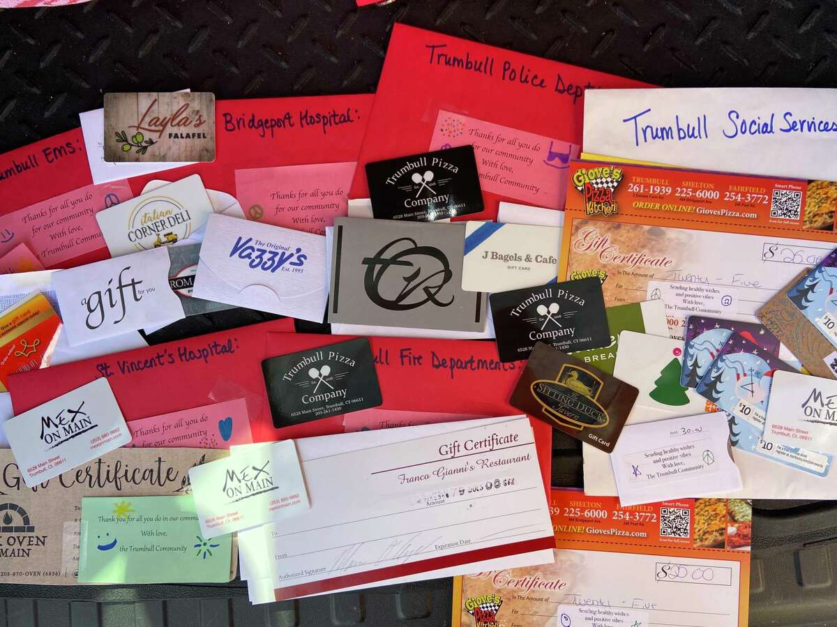 Trumbull residents have donated more than $5,500 worth of gift cards to local restaurants to emergency responders and health care and social service providers.