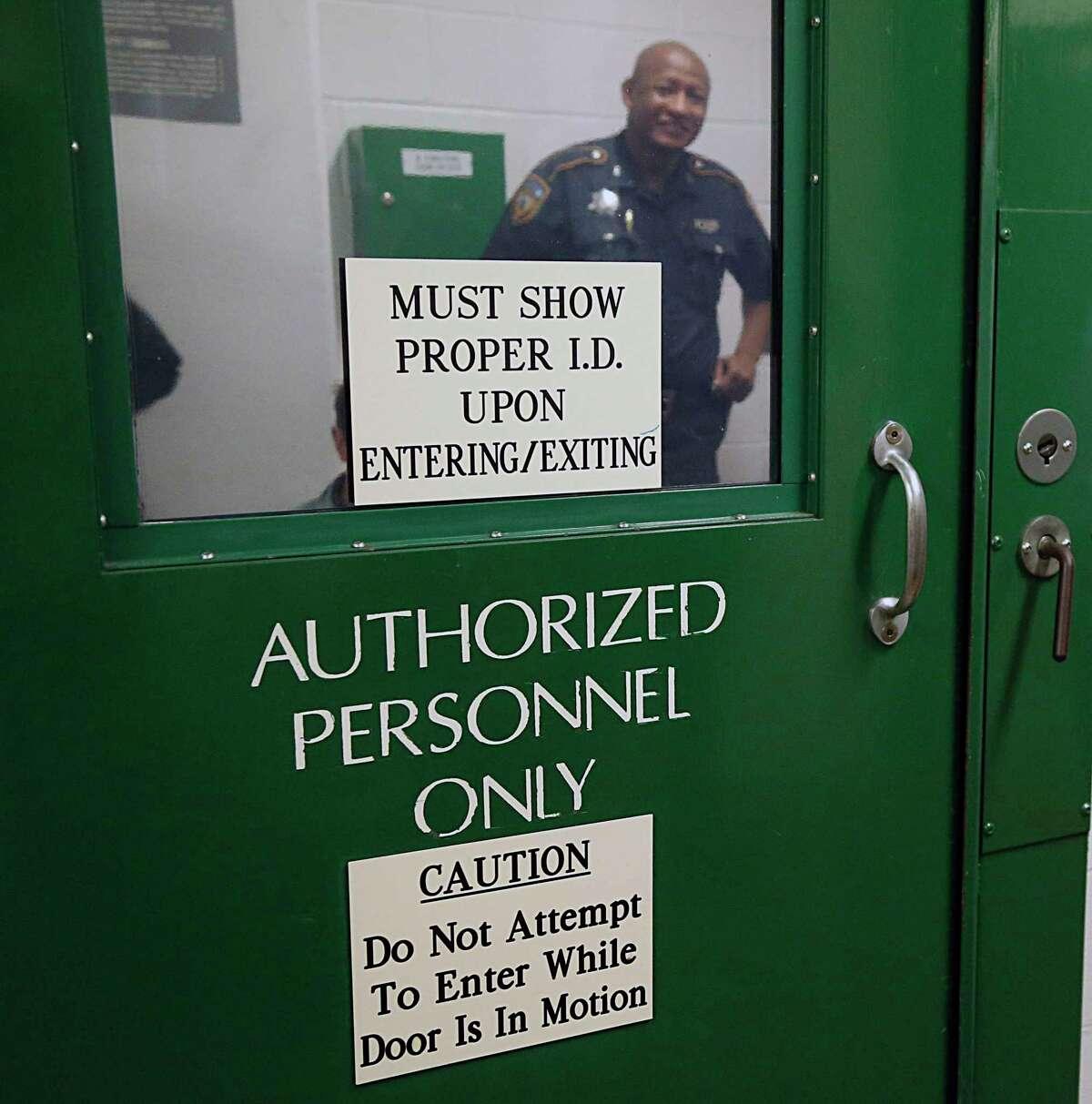 Harris County Sheriff Deputy T.J. Johnson during a tour of the Harris County jail at 1200 Baker street Friday, Sept. 25, 2015, in Houston. ( James Nielsen / Houston Chronicle )