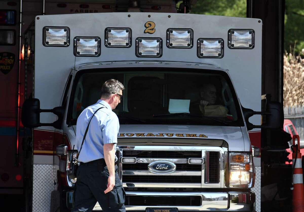 A Troy Fire Department ambulance returns to Station 2 at Bouton Road on Monday, April 6, 2020, in Troy, N.Y. (Will Waldron/Times Union)
