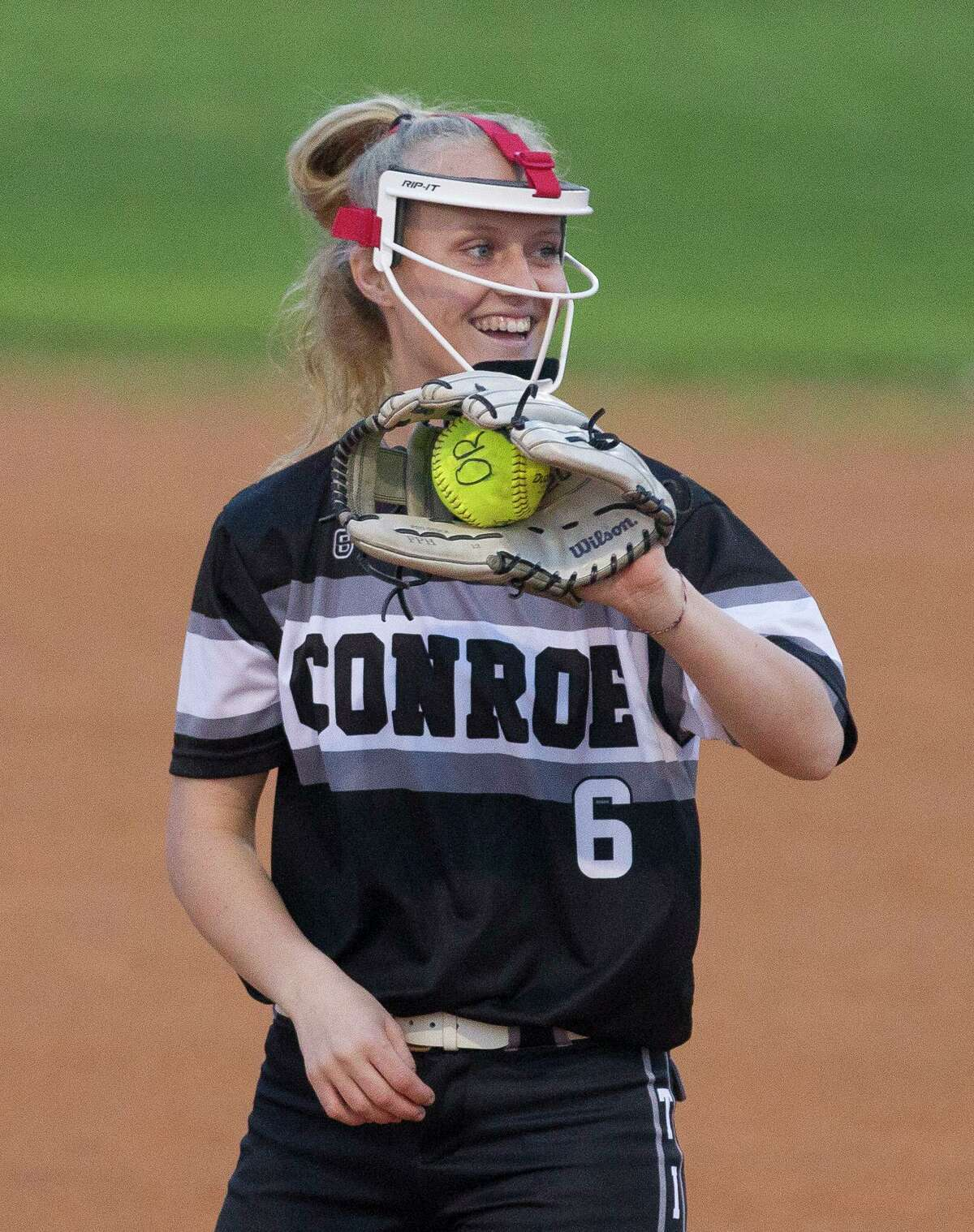 Madelyn Tannery is shown pitching for Conroe in 2018.