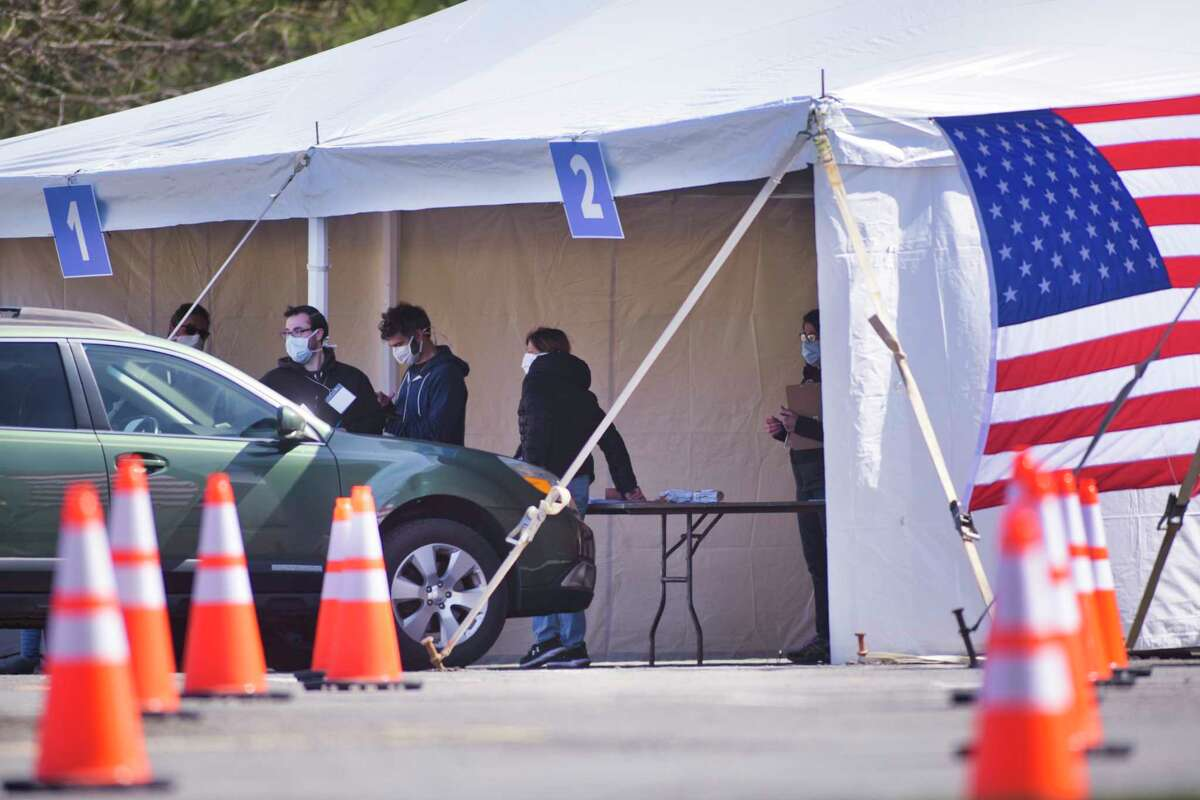 COVID-19 drive-through testing site opened at the University at Albany on Monday, April 6, 2020, in Albany, N.Y. The testing site is only for those who make appointments beforehand. (Paul Buckowski/Times Union)