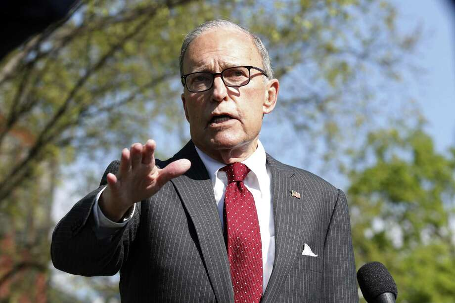 "Larry Kudlow, director of the U.S. National Economic Council, speaks to members of the media at the White House in Washington, D.C., U.S., on Monday, April 6, 2020. Kudlow said he likes the idea of the federal government issuing a ""war bond"" amid the coronavirus pandemic, and he'll mention the idea to President Trump. Photographer: Stefani Reynolds/CNP/Bloomberg Photo: Stefani Reynolds / Bloomberg / © 2020 Bloomberg Finance LP"