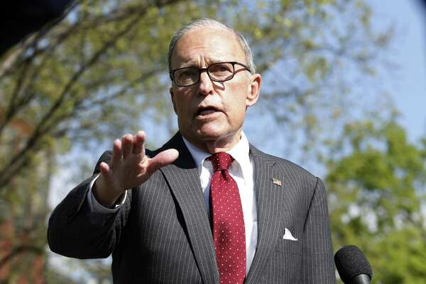 """Larry Kudlow, director of the U.S. National Economic Council, speaks to members of the media at the White House in Washington, D.C., U.S., on Monday, April 6, 2020. Kudlowsaid he likes the idea of the federal government issuing a """"war bond"""" amid the coronavirus pandemic, and he'll mention the idea to President Trump. Photographer: Stefani Reynolds/CNP/Bloomberg"""
