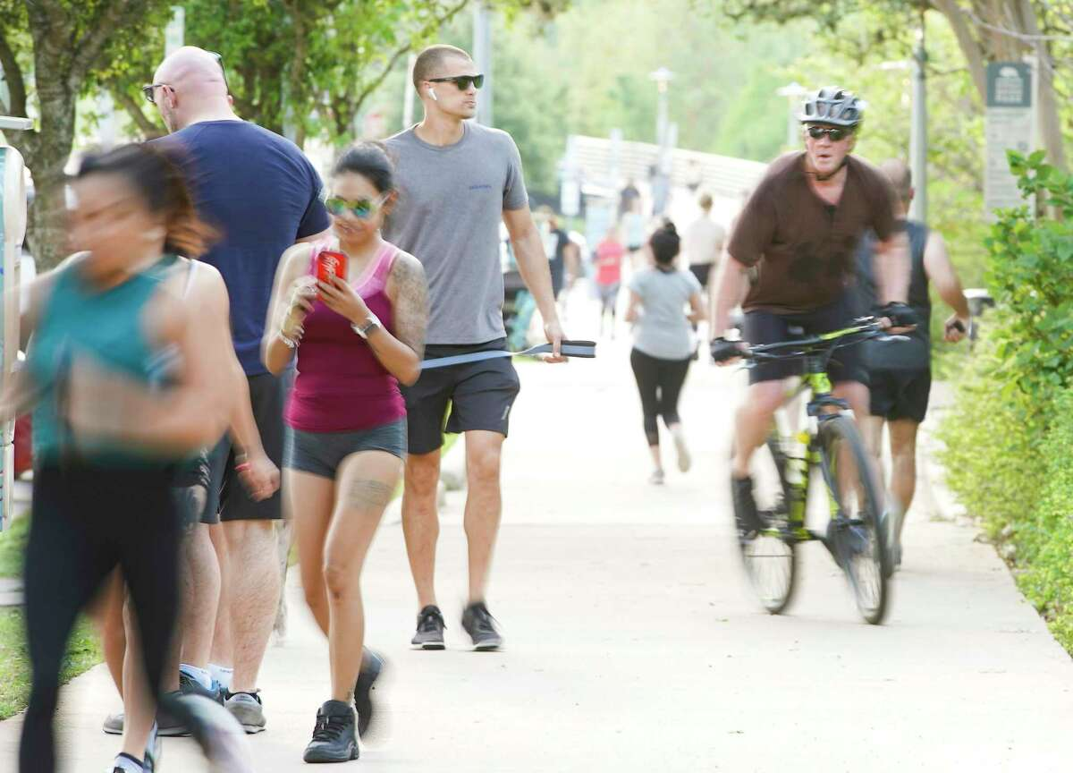 Walkers, joggers and cyclist often take to the Buffalo Bayou Trail.