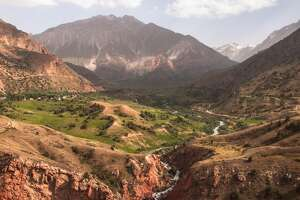 The view of a valley in Tajikistan.