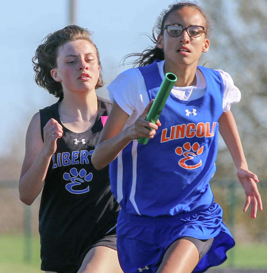 Lincoln and Liberty Middle Schools compete in a track and field meet last season. The track and field season was canceled Friday by the IESA. Photo: Mike Baxter|For The Intelligencer