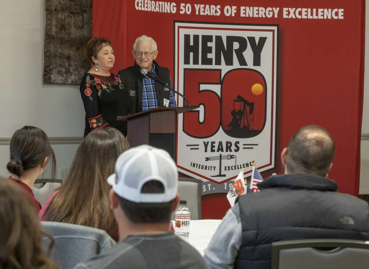 FILE PHOTO: Paula and Jim Henry thank employees during a gathering Oct. 28, 2019, to celebrate the 50th anniversary of Henry Resources. Through Henry Resources, the couple announced a gift of 24.63 acres of land valued at approximately $5 million, which will include space for a new IDEA Public school and future staff housing.