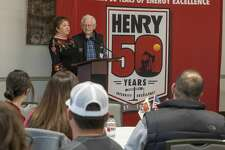 Paula and Jim Henry thank employees during a gathering Oct. 28, 2019, to celebrate the 50th anniversary of Henry Resources. The company plans to spend about 20 percent less this year than in 2019, planning an $80 million capital budget.