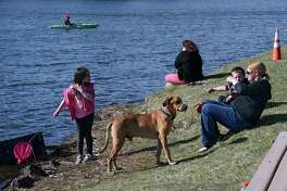 People enjoy a sunny day at Six Mile Waterworks on Monday, April 6, 2020 in Albany, N.Y. (Lori Van Buren/Times Union)