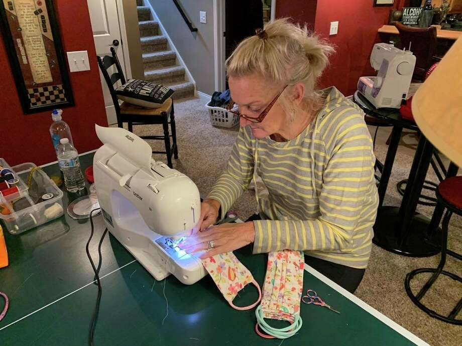 Deb Makowski, of Manistee, is one woman who is sewing masks for medical personnel in Manistee. (Courtesy photo)
