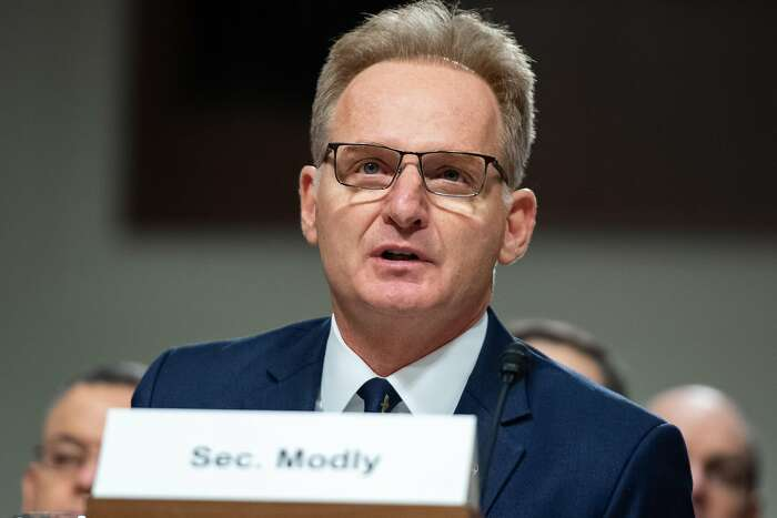 WASHINGTON, DC - DECEMBER 03: Acting Navy Secretary Thomas Modly testifies before the Senate Armed Services Committee in the Dirksen Senate Office Building on Capitol Hill December 03, 2019 in Washington, DC. Military secretaries and members of the Joint Chiefs testified about a new GAO report about ongoing reports of substandard military housing conditions and services.
