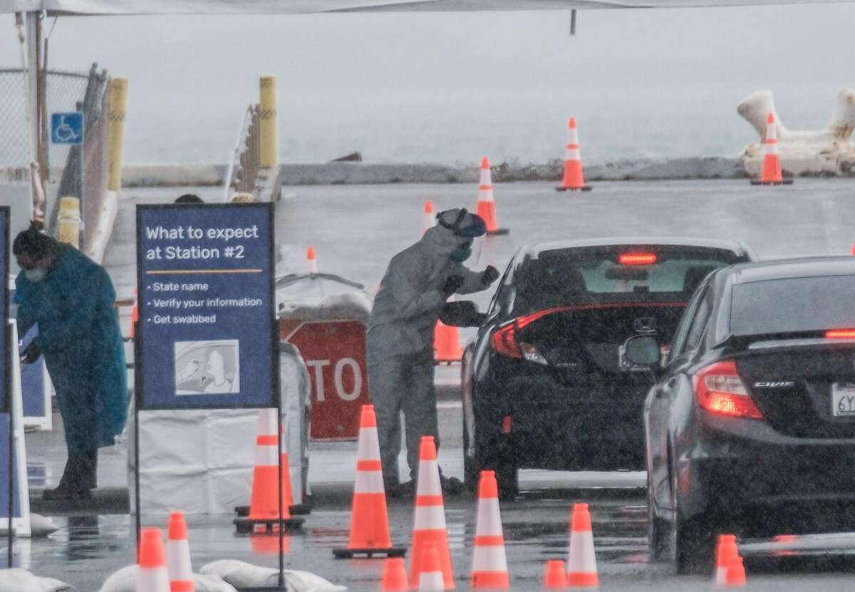 People drive up to get tested at a new COVID-19 testing site that will prioritize first responders and health care workers in San Francisco, Calif. on Monday April 6, 2020.