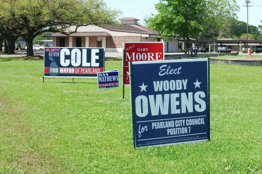 Candidate's signs dot the landscape in Pearland after May elections were postponed until November because of the novel coronavirus pandemic. Photo: Kirk Sides / Staff Photographer / © 2020 Kirk Sides / Houston Chronicle