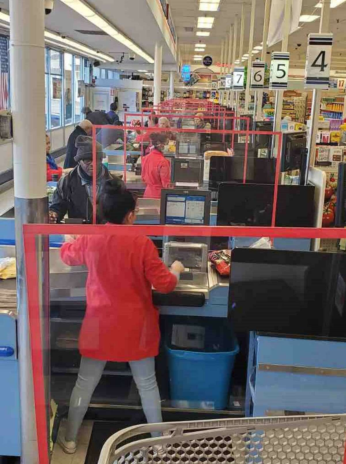 ShopRite of Shelton had installed plexiglass dividers at all cash registers and implement other social distancing guidelines. This photo was posted on its Facebook page on March 27, in which store management asked, for the safety of all shoppers and our associates, shoppers make their best effort to practice safe social distancing while shopping in the store.