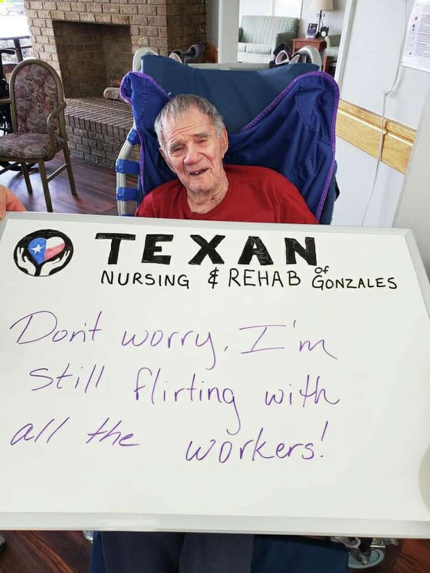 Texan Nursing and Rehab of Gonzales photographs messages from residents, then posts them on Facebook for families and friends to see.