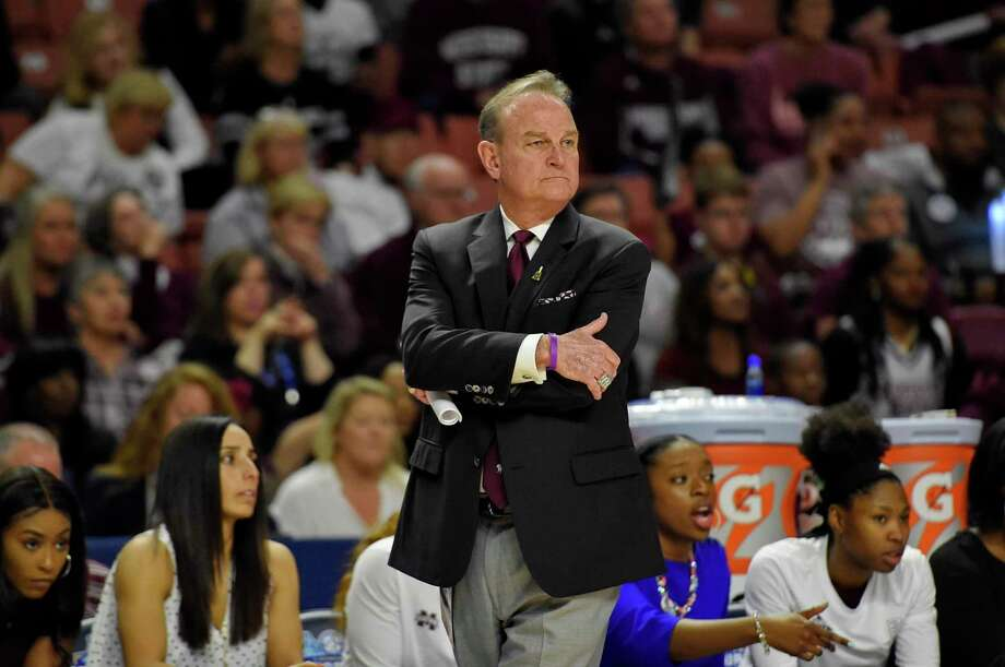 Former Mississippi State head coach Vic Schaefer watches the action during the second half of a championship match against South Carolina at the Southeastern Conference women's NCAA college basketball tournament in Greenville, S.C., Sunday, March 8, 2020. (AP Photo/Richard Shiro) Photo: Richard Shiro /Associated Press / Copyright 2020 The Associated Press. All rights reserved