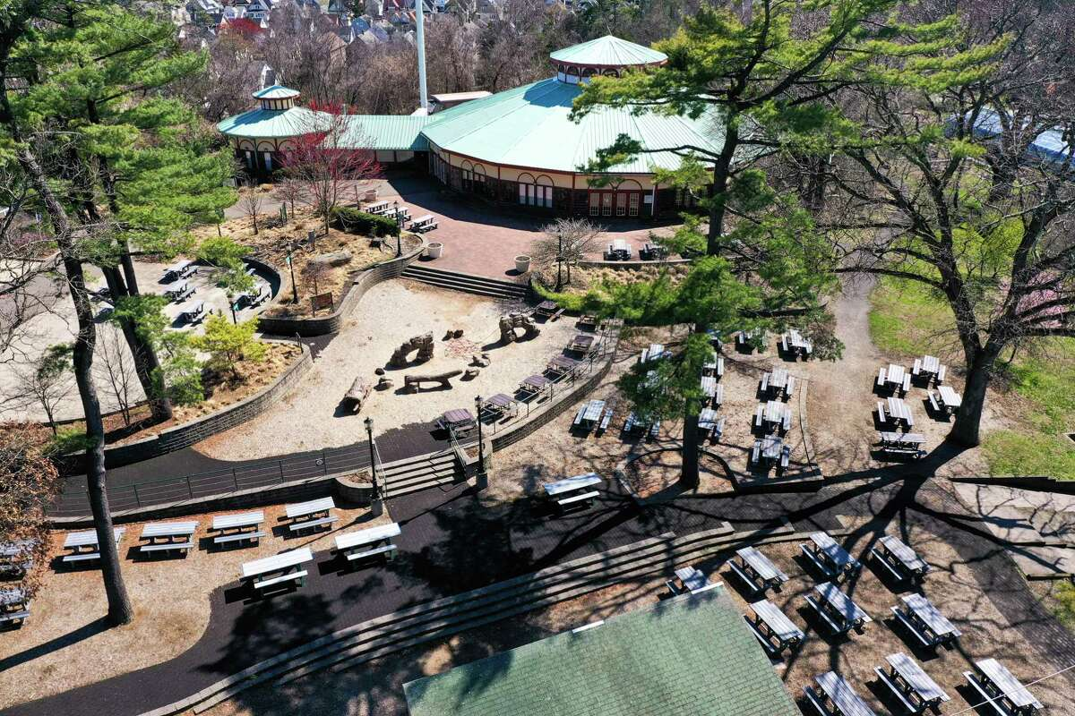 A view from a drone above Connecticut's Beardsley Zoo.