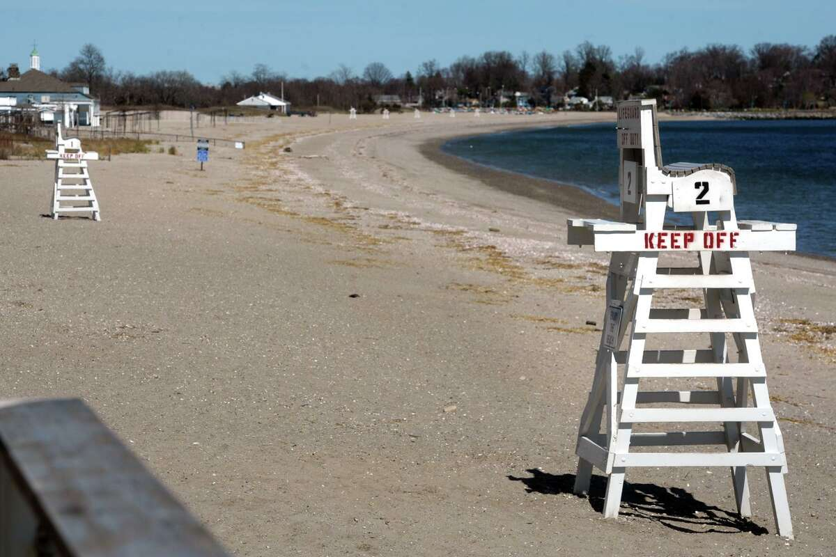 Penfield Beach, looking east towards the Fairfield Beach Club and Jennings Beach, in Fairfield, Conn. April 6, 2020. The beaches were clear of people Monday afternoon. Town of Fairfield beaches and parks were closed to the public due to coronavirus precautions.