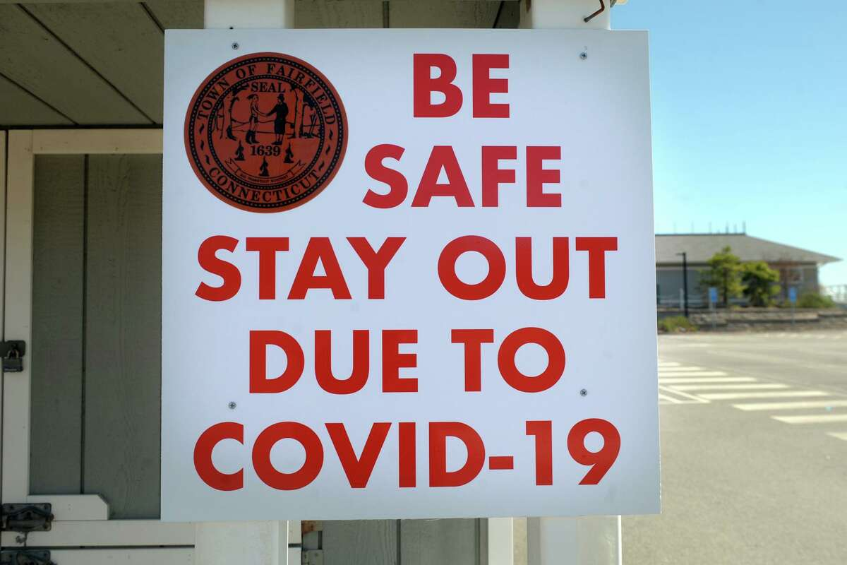 A sign at the entrance to Penfield Beach, in Fairfield, Conn. April 6, 2020. Town of Fairfield beaches and parks are currently closed to the public due to coronavirus precautions.