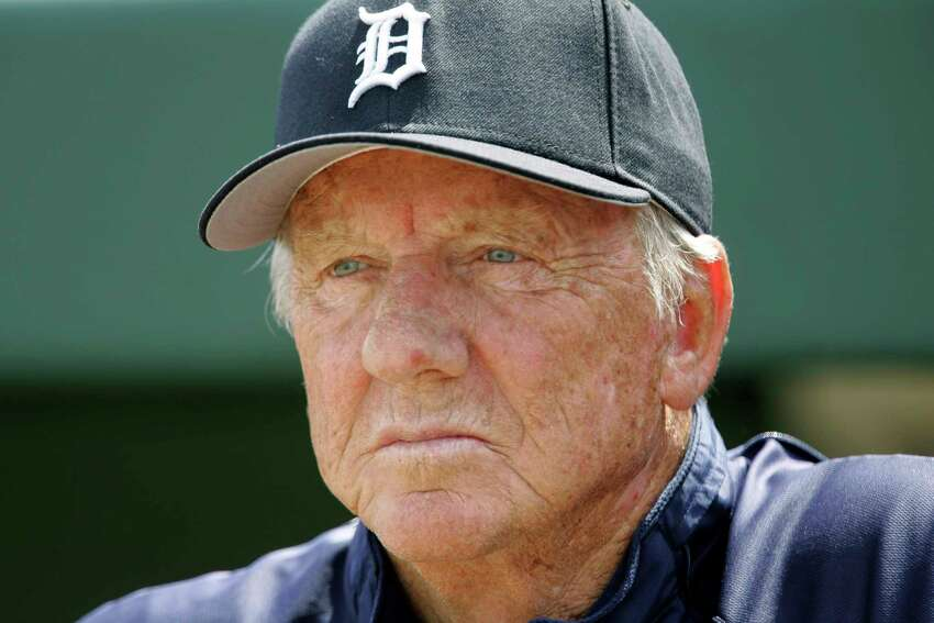 FILE - In this March 18, 2008, file photo, Detroit Tigers Hall of Famer Al Kaline watches a spring training baseball game between the Tigers and the Washington Nationals in Lakeland, Fla. Al Kaline, who spent his entire 22-season Hall of Fame career with the Detroit Tigers and was known affectionately as a€œMr. Tiger,a€ has died. He was 85. John Morad, a friend of Kaline's, confirmed to The Associated Press that he died Monday, April 6, 2020, at his home in Michigan. (AP Photo/Paul Sancya, File)