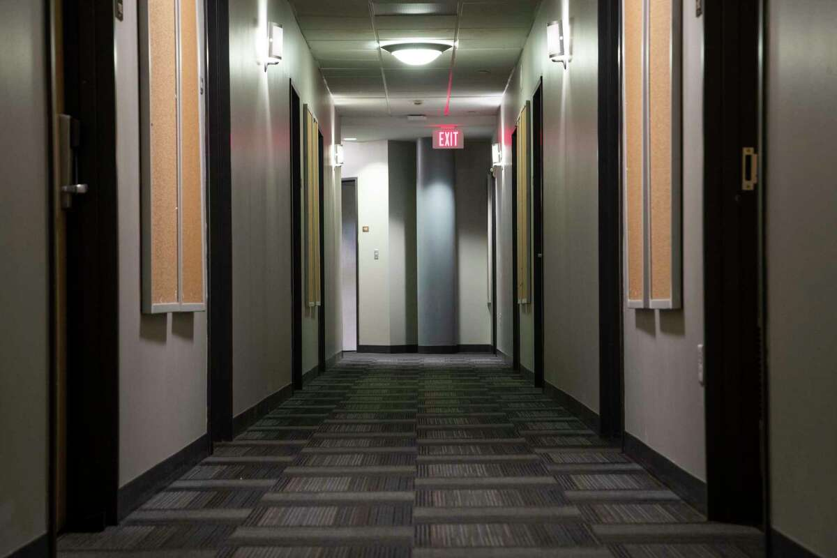 University of St. Thomas Guinan Residence Hall dorm hallway on Monday, April 6, 2020, in Houston.