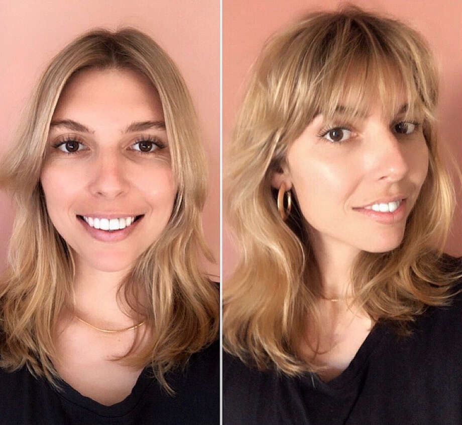 This before-and-after comparison shows one of Edo Salon stylist Julia Patton's clients after a virtual bang trim appointment. It was this client's first time cutting her own hair, said Patton. Photo: Julia Patton/@jpattonsalon