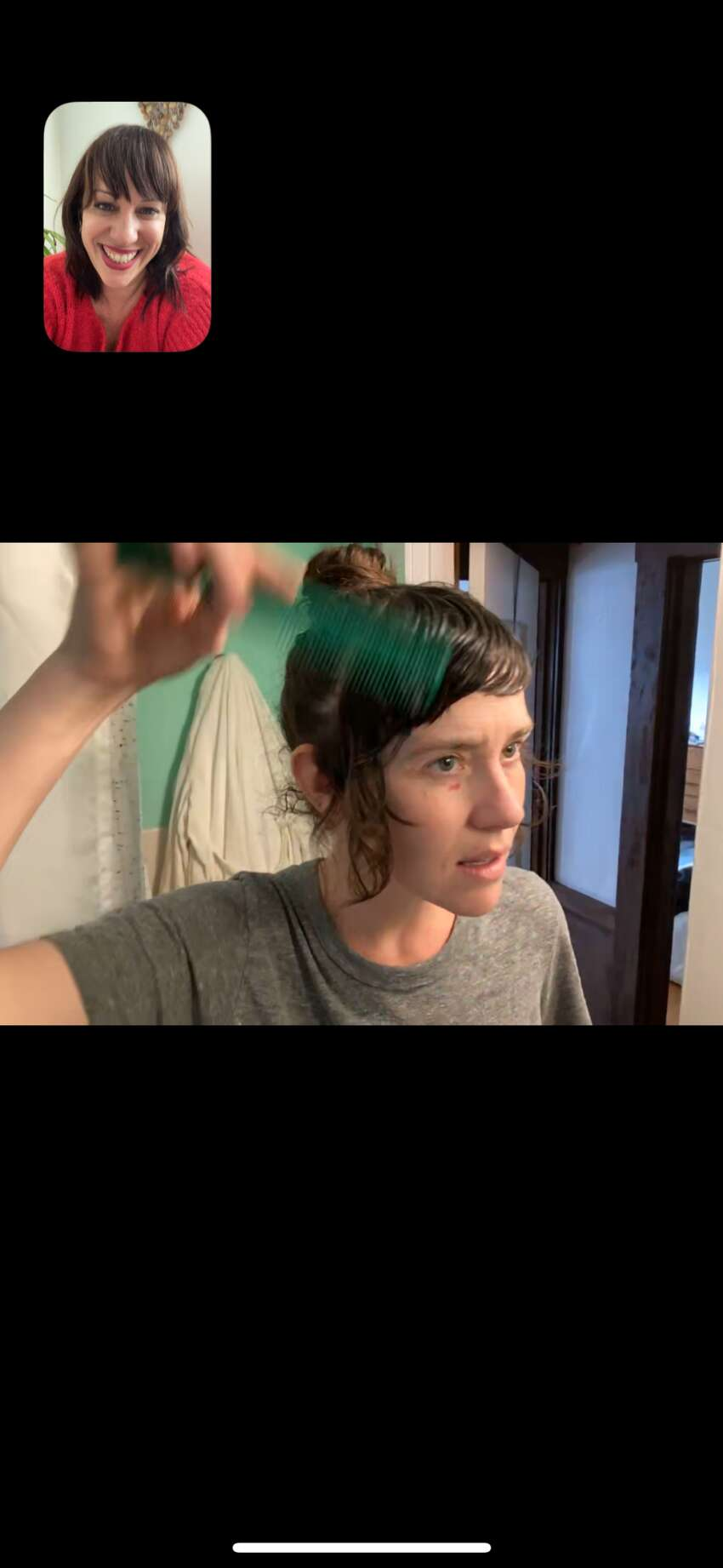 Edo Salon co-owner and stylist Chri Longstreet guides one of her clients through a virtual hair appointment - an alternative many are turning to as they shelter in place.
