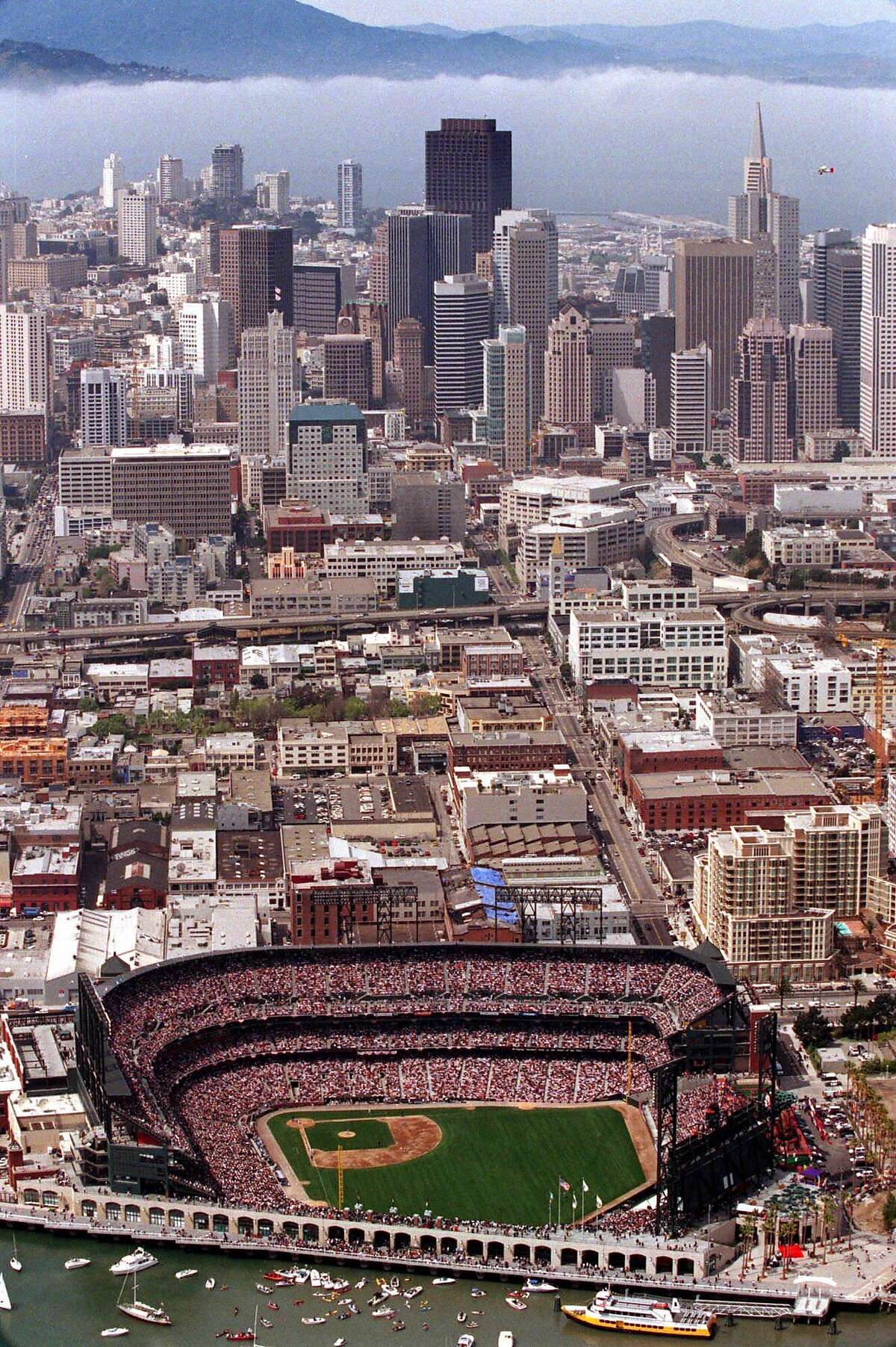 Pacific Bell Park is seen with the San Francisco skyline and Marin Hills in the background in an aerial photograph taken on the San Francisco Giants' home opener Tuesday, April 11, 2000. The Giants' played the Los Angeles Dodgers. (AP Photo/Dan Krauss)