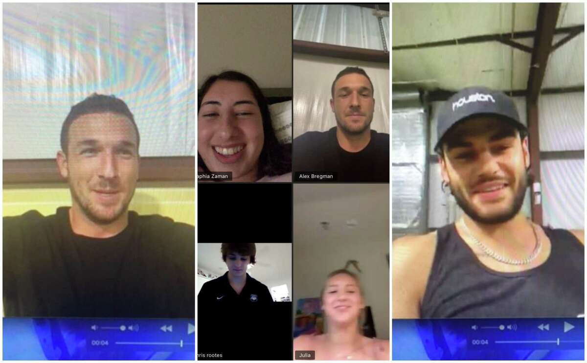 Alex Bregman and Lance McCullers surprise St. Thomas High School seniors by crashing the students' virtual prom night on Zoom.