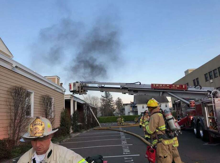 Firefighters quickly contained a fire at a Stamford funeral home caused by a malfunctioning crematory chamber at 6:43 p.m. Monday, April 6, 2020. There was only smoke and water damage at Cognetta's Funeral Home at 104 Mrytle Ave. Photo: Stamford Fire Department Photo