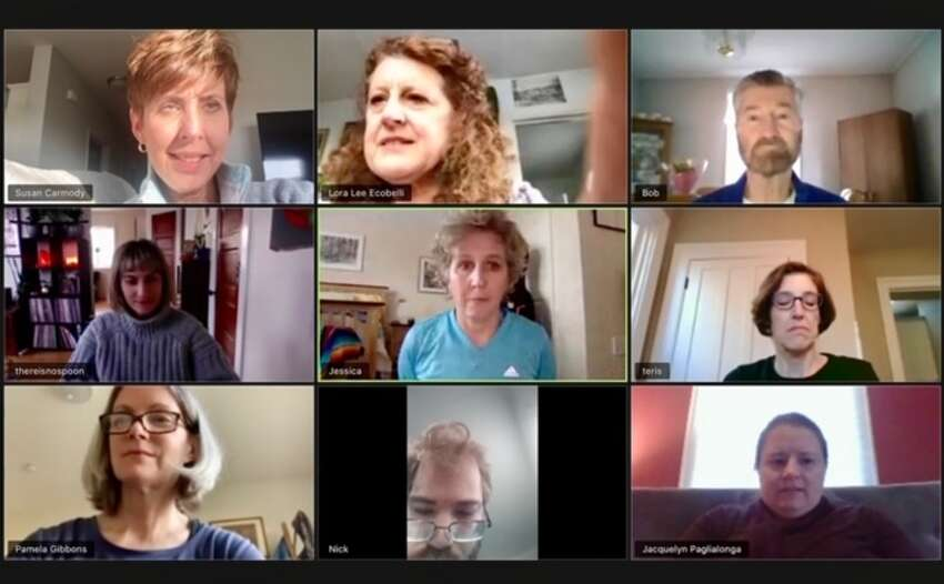 Blue Horse Repertory class held on Zoom. Pictured from top left, Susan Carmody, Lora Lee Ecobelli, Bob O'Brien, Gina DeNardo, Jessica Loy, Teri Stutsrim, Pamela Gibbons-Mahler, Nick Williams, Jacquelyn Paglialongo.
