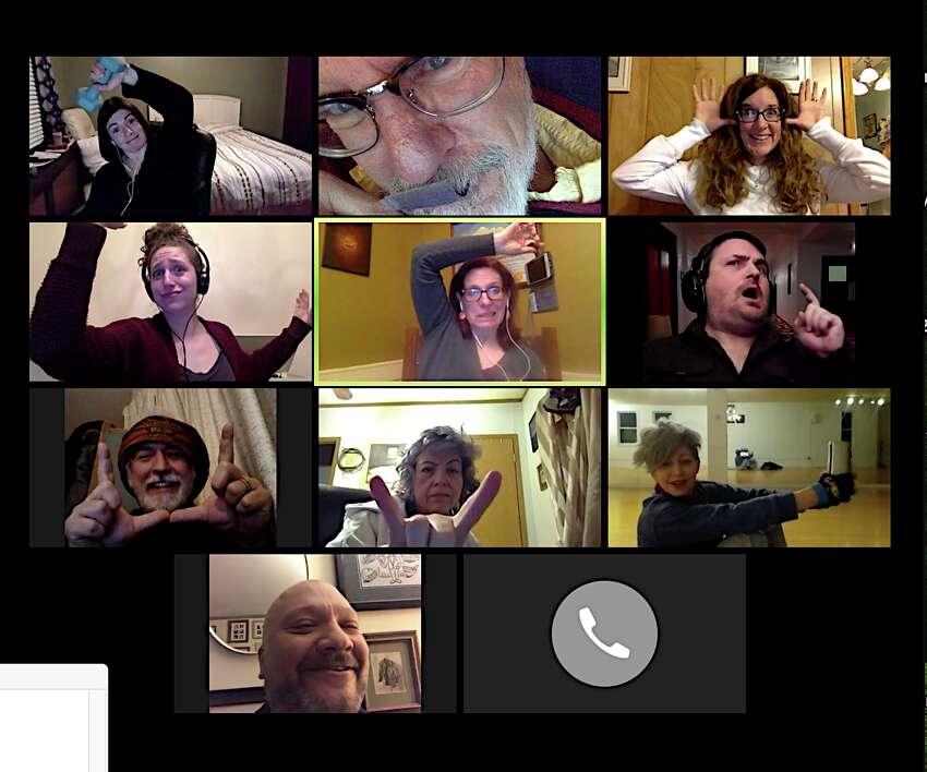 Mopco Theatre hamming it up at a recent virtual rehearsal. From top left, Becky Guiley, Michael Burns,Heather Schwartz, Livia Armstrong, Kat Koppett, Walt Batycki, Jon Kimlicko, Amy Nolte, Jen Lavenhar, and Peter Delocis.