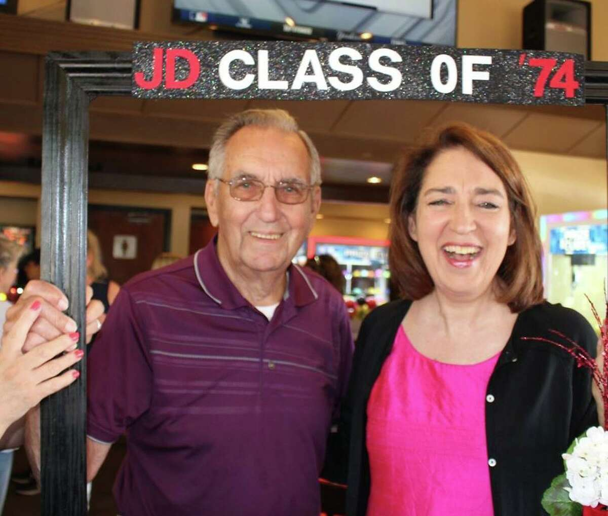 Carl and Janeen Bjork, his daughter, an Old Greenwich resident, at a high school reunion at the Trappers Grille in East Syracuse, N.Y.